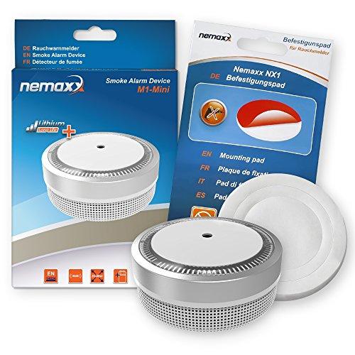 Nemaxx Rauchmelder M1-Mini - Sensibler Photoelektrischer Rauchwarnmelder - mit Lithiumbatterie Typ...