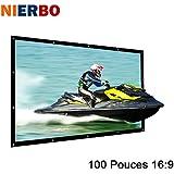 NIERBO 100 Pouces Écran de Projection 16 9 228X132cm Écran projecteur vidéo portable