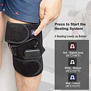 ARRIS Heated Knee Brace Wrap Support/Electric Therapeutic Heating Pad W/Rechargable 7.4V 2600Mah Battery for Joint Pain, Pain Relief (3 Temperature Setting) (1PCS) Large