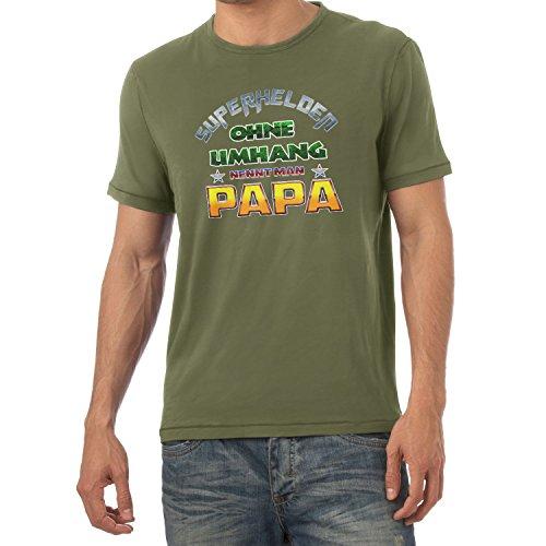 TEXLAB - Superhelden ohne Umhang nennt man Papa - Herren T-Shirt Oliv