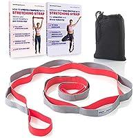 Cinturon Yoga – Stretch Strap - Banda Fitness para Estiramientos – (con 12 Trabillas) Recomendado Terapia Física Equipos – Accesorios Pilates – Cuerda Ejercicion - Instrucciones de Entrenamiento