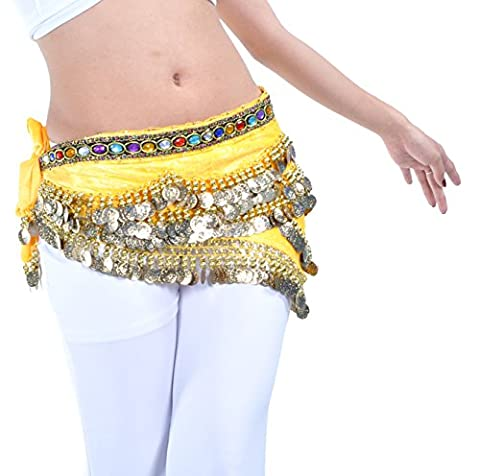 Dance Fairy yellow 250coins Colorful rhinestone belly dance hip chain scarf Perfect dance skirt