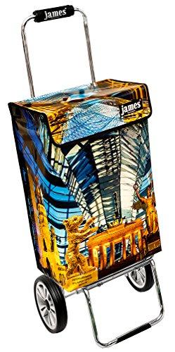James Einkaufstrolley Design BERLIN deluxe, moderner Einkaufswagen, bunter Lifestyle Shopper, Trolly, Rollkoffer, 40kg Tragkraft, klappbar, made in EU!