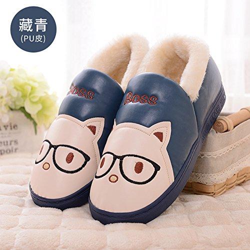 DogHaccd pantofole,Pantofole di cotone femmina pacchetto invernale per le coppie con spessi grazioso cartoon anti-slittamento famiglia caldo home pantofole Blu scuro1
