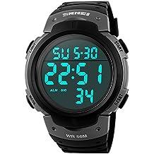 Skmei ocio hombres del deporte un gran número de pantalla digital LED de diseño simple resistente al agua muñeca watch-gray