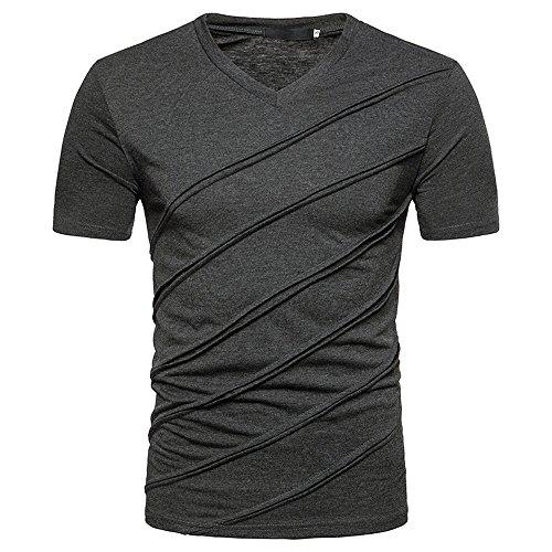 (iLPM5 Hemd Herren SommermodeHerren T-Shirt Casual Sommer Slim Fit V-Ausschnitt Kurzarm T-Shirts (Dunkelgrau, CN-2XL / EU-L))