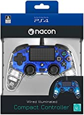 Nacon Wired Illuminated Compact Controller for PS4 (Blue) PlayStation official Licensed Product