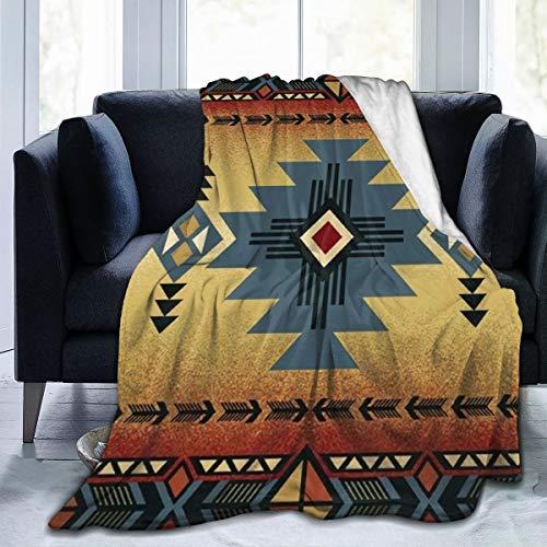"""FIRS Indianer-Satteldecke, Muster, ultraweich, Micro-Fleece, leicht, warm, Urlaub, Winter, Kabine, Reisen, Schwarz, 80\""""x60\"""""""