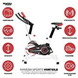 Miweba Sports Indoor Cycling MS100 Fitnessbike - 10 Kg Schwungmasse - Stufenfreie Widerstandsverstellung - Pulsmessung (Weiß) - 2