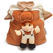 Bazaar Pirates Cute Soft Toy T-Shirt Style School Bag For Kids ( Brown )