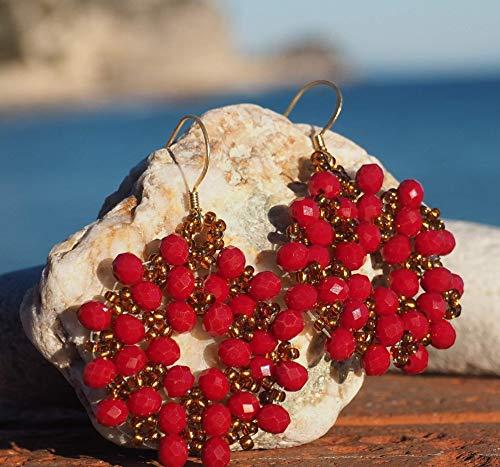 Magie di Trilli Orecchini pendenti donna - ragazza artigianali a cerchio con cristalli rossi con rocailles dorate - Idea regalo compleanno