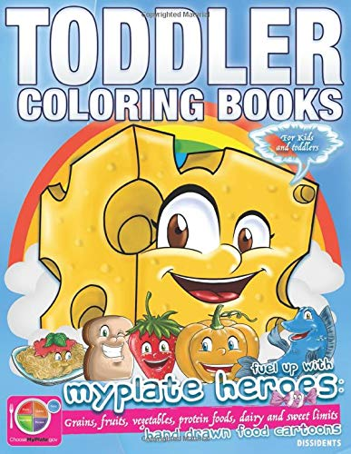 KS FOR KIDS AND TODDLERS FUEL UP WITH MYPLATE HEROES: GRAINS, FRUITS, VEGETABLES, PROTEIN FOODS, DAIRY AND SWEET LIMITS HAND DRAWN FOOD CARTOONS. ()