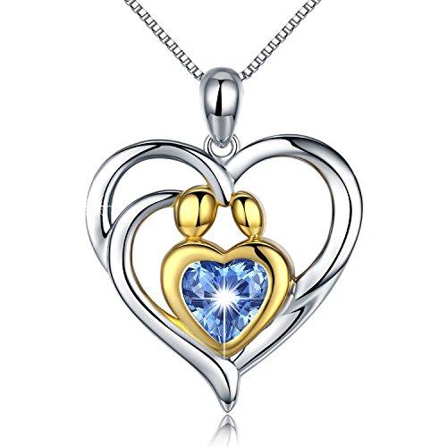 Damen Halskette Mutter und Kind 925 Sterling Silber Herz Halskette Anhänger mit Blau Zirkonia Schmuck Damen Kette 45CM Kettenlänge Geschenk für Damen