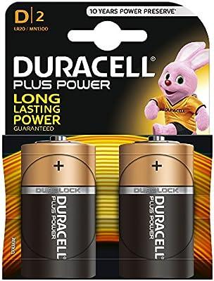Duracel LR20/ MN1300 - Pilas alcalinas Plus Power Dlr - 20, 2 unidades