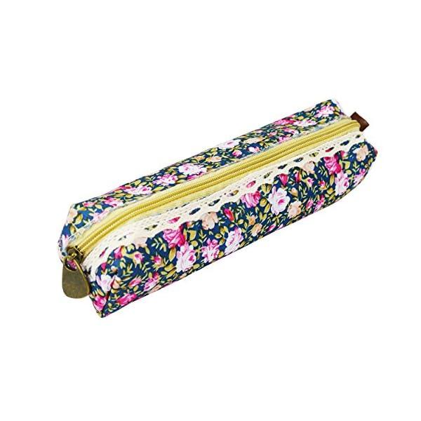 Katara – Estuche para bolígrafos (1 unidad), diseño floral, color azul oscuro
