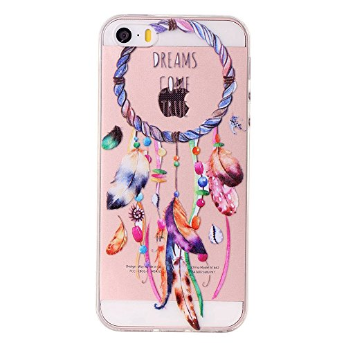 iPhone 5S Hülle, SHUNDA Ultra Dünn Schutzhülle Weiche TPU Silicone Stoßstangen Handyhülle Abdeckung Rückschale Case cover für iPhone 5S - Rosa Marmor Windspiele