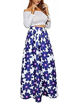 Uideazone donne Vintage Gonne a vita alta Floral Maxi una linea pannello esterno con Pocket