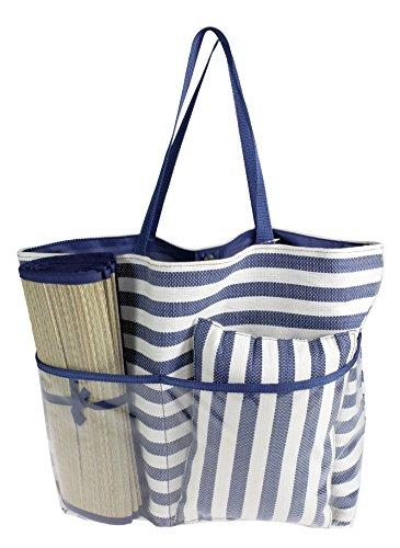 f100a3e196abf Camomilla Milano - Conjunto de bolsa de playa con estera y almohadilla a  rayas azules