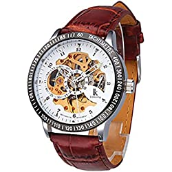 Men's Wrist Watch - Ikcolouring Fashion Mechanical Brown Band Gold Business Men's Watch FATHER GIFT