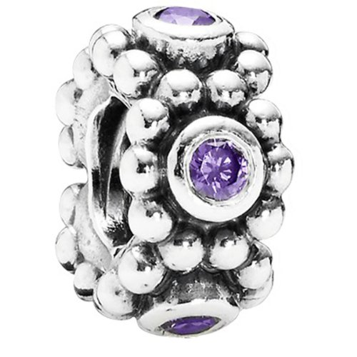 Pandora Damen-Charm 925 Sterling Silber Zirkonia violett 791122ACZ
