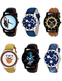 NIKOLA New Quartz Mahadev Beard Style Black Blue And Brown Color 6 Watch Combo (B22-B56-B14-B54-B23-B57) For Boys...