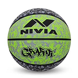 Nivia 1951BG Rubber Nivia Graffiti Basketball, Size 7 (Black/Green)