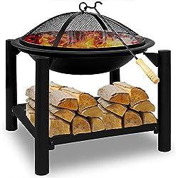 Deuba | Brasero de Jardin • Ø 55 cm Rond • Acier • avec tisonnier et Compartiment de Rangement pour Bois | Barbecue, Brasier, extérieur, cheminée