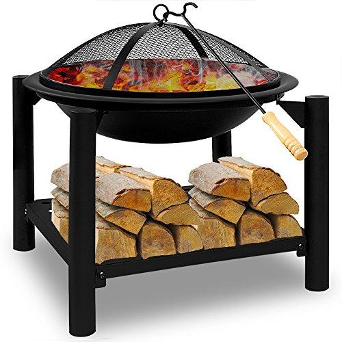 Deuba® Feuerstelle rund | 50x50 | Feuerhaken | Funkenfluggitter | Holzablagefach | Feuerkorb Feuerschale Grillfeuer Lagerfeuer