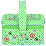 Enwraps Green Finish Flower Birds Rectangle Multipurpose Metal/Tin Utility Box For Home/Kitchen/Wedding/Casual Gift. LBH(inches)-4X3X2.5