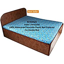 BirthMark Baby's Plastic Double Bed Sheet Animal Print Waterproof Mattress Protection, 6.5x6.5ft (Multicolour)