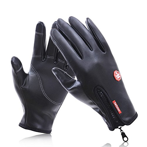Biking Gloves, KOLARK Windproof Leather in Winter Outdoor Cycling Waterproof with Zip Adjustable Size Touchscreen Gloves work for iPhone 8, iPhone 7 and Smartphone