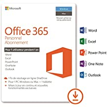 Microsoft Office 365 Personnel | 1 PC Windows ou Mac + 1 tablette | 1 an | Téléchargement