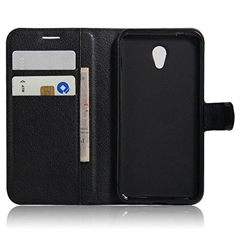 SMTR Vodafone smart prime 7 VF600 Wallet Tasche Hülle - Ledertasche im Bookstyle in Schwarz - [Ultra Slim][Card Slot][Handyhülle] Flip Wallet Case Etui für Vodafone smart prime 7 VF600