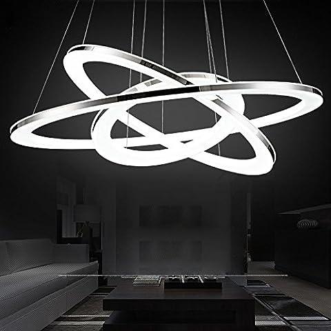 Telecomando di moderna attrezzatura luci 3 anello sorgente LED chip lampada DIY paralume in acrilico per la sala da pranzo - Portare A Casa Attrezzature Del Bambino