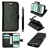 STYLEYOURMOBILE SAMSUNG GALAXY S3 S III MINI I8190 PREMIUM QUALITY PU LEATHER MAGNETIC FLIP CASE COVER POUCH + GUARD + FREE STYLUSS (Black Book)