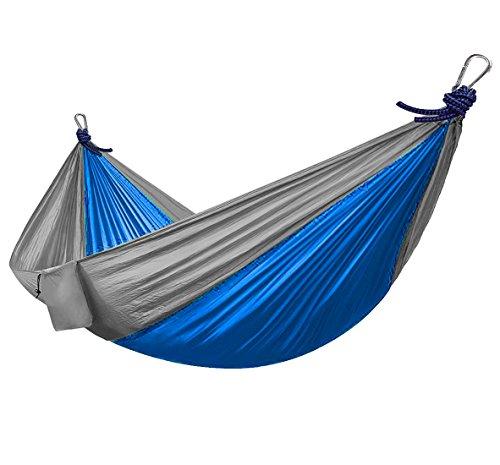 Ocean5 Hängematte aus Ultra Leichter Fallschirmseide - Chill-Swing - Riesen-Hängematte XXL für 2 Personen aus Nylon Fallschirm-Seide 2,70 x 1,40 cm, Farbe: grau/blau