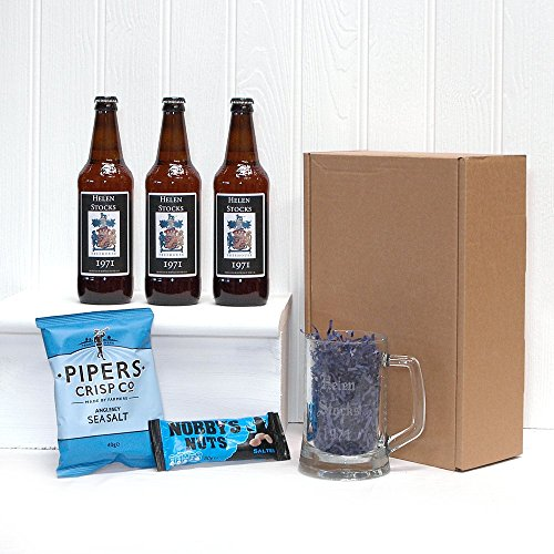 PERSONALISED 'Pub In A Box' with 3 x Bottles Yorkshire Ales with Personalised Labels, Engraved Glass Tankard & Mens Nibbles - Personalised Gift ideas