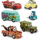 Disney Pixar Cars Figuren-Set-Lightning McQueen, Hook, Sarge, Guido, Luigi und Fillmore (PVC, Kunststoff)
