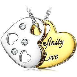 Collar de mujer. Infinito Amor Grabado. Colgante Chapado en Oro Joyeria para Aniversario. Dia de San Valentin.