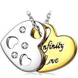 Kami Idea Mujer Collar Infinito Amor Grabado Yellow Colgante Chapado en Oro Joyeria para Aniversario Cumpleaños Dia de San Valentin Ella Su Madre