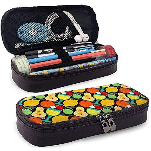 Sommerfest Limonade Federmäppchen Leder große Kapazität Bleistift Tasche Make-up Stift Tasche langlebig mit Doppel-Reißverschluss Stifthalter -