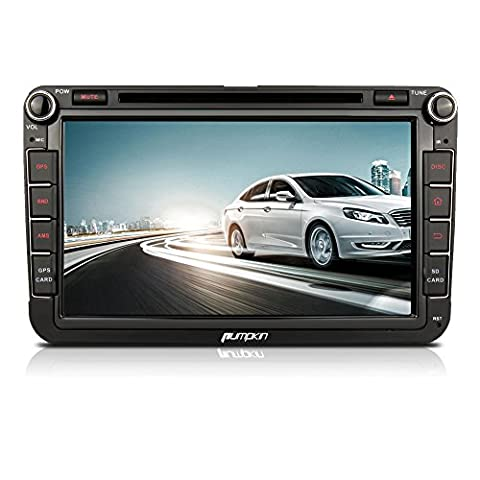 Pumpkin 8 inch Android 5.1 Lollipop Head Unit Double Din Car Stereo with DVD Player and Built-in WIFI Support GPS/Bluetooth/Phone Mirroring/1080P HD/USB SD/Subwoofer/AV Output/SWC/Radio/DAB+ for Skoda Jetta Golf Passat Polo Seat (Support Parking