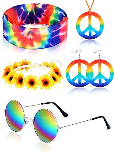 Hippie Kostüm Set, Enthält Hippie Sonnenbrillen, Regenbogen Friedenszeichen Ohrringen und Halskette, Blumen Stirnband Hippie Krawatten Bandana Stirnband für 60 oder 70 Jahre Hippie Ankleiden Zubehör