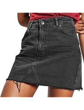 Mujer Falda, Color Sólido A-Lìnea Adelgazar Skirt de Mezclilla Moda Cintura Alta Casual Primavera Verano Mini...
