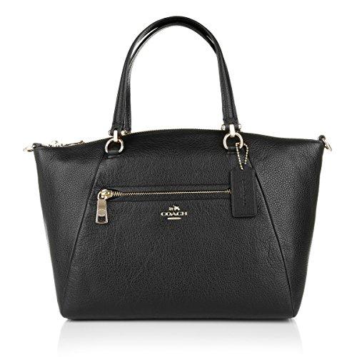 COACH Leder Prairie Satchel Schwarz Pebbled Damen Handtasche Satchel [Damen Frauen Umhängetaschen Tote Bag Handtaschen] (Satchel Handbags Coach)