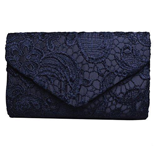 Sumaju Damen Clutch, Blau Spitze Clutch Abendtasche Umschlagtacshe für Hochzeit Partys (Marine-blau-handtasche)