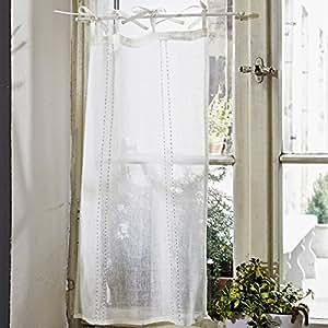 mirabeau scheibengardinen vire aus leinen 2er set amazon. Black Bedroom Furniture Sets. Home Design Ideas
