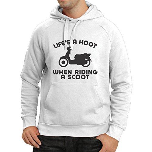 Kapuzenpullover Das Leben ist EIN Lachen beim Fahren eines Rollers, Humor Slogans, Sprüche, inspirierende Zitate (Small Weiß Mehrfarben)