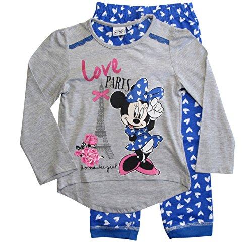 ion 2018 Pyjama 92 98 104 110 116 122 128 Mädchen Schlafanzug Neu Nachtwäsche Lang Maus (Grau-Blau, 122-128) (Nachtwäsche Für Mädchen)