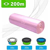 200 M - ECO Recarga compatible Sangenic Tommee Tippee | Angelcare para pañales | equivalente 16 cajitas Sangenic | 28 Angelcare | Producido en Europa | Color Rosa